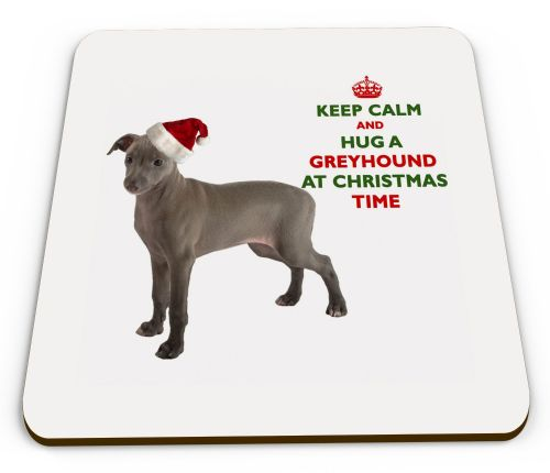 Christmas Keep Calm And Hug A Greyhound Novelty Glossy Mug Coaster